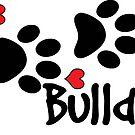 DOG PAWS LOVE BULLDOG DOG PAW I LOVE MY DOG PET PETS PUPPY STICKER STICKERS DECAL DECALS by MyHandmadeSigns