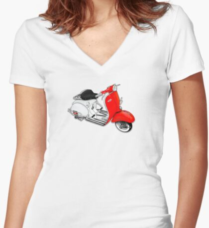 Scooter T-shirts Art: 1960 Allstate Scooter Design Women's Fitted V-Neck T-Shirt