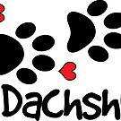 DOG PAWS LOVE DACHSHUND DOG PAW I LOVE MY DOG PET PETS PUPPY STICKER STICKERS DECAL DECALS by MyHandmadeSigns