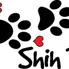 DOG PAWS LOVE SHIH TZU DOG PAW I LOVE MY DOG PET PETS PUPPY STICKER STICKERS DECAL DECALS by MyHandmadeSigns