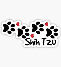 DOG PAWS LOVE SHIH TZU DOG PAW I LOVE MY DOG PET PETS PUPPY STICKER STICKERS DECAL DECALS Sticker