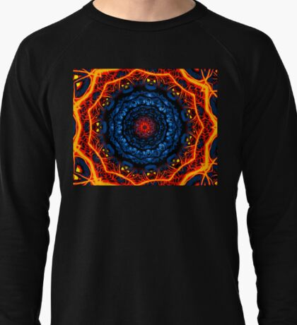 Kaleidoscope 8 psychedelic abstract fiery mandala tunnel pattern . Lightweight Sweatshirt