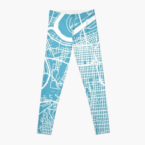Kansas City Map - Baby Blue Leggings