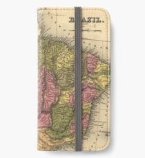 Vintage Map of Brazil (1846) iPhone Wallet/Case/Skin