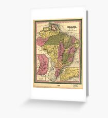 Vintage Map of Brazil (1846) Greeting Card