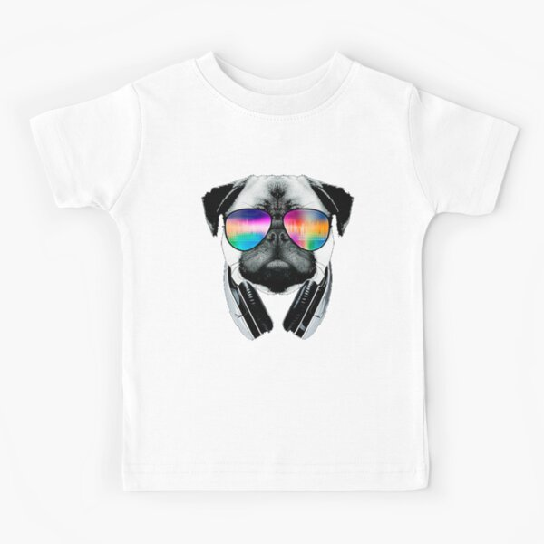 Pug in headphones Kids T-Shirt