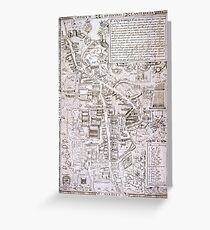 Vintage Map of Cambridge England (1574) Greeting Card