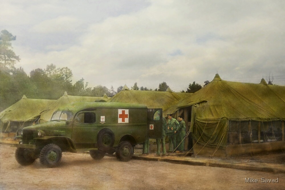 Doctor - 1942 - Camp Sibert - Transferring the patient by Mike  Savad