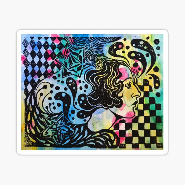 psychedelic lady Sticker