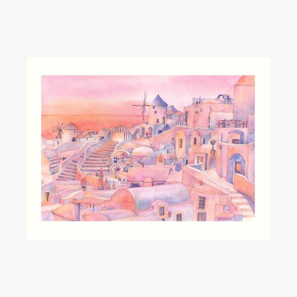 Pink Santorini Art Print