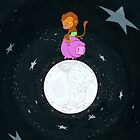 Baby Monkey Rides A Pig Backwards On The Moon by JCarrtoons