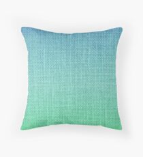 Ombre Shaded Tropical Ocean Turquoise Blue Burlap Throw Pillow