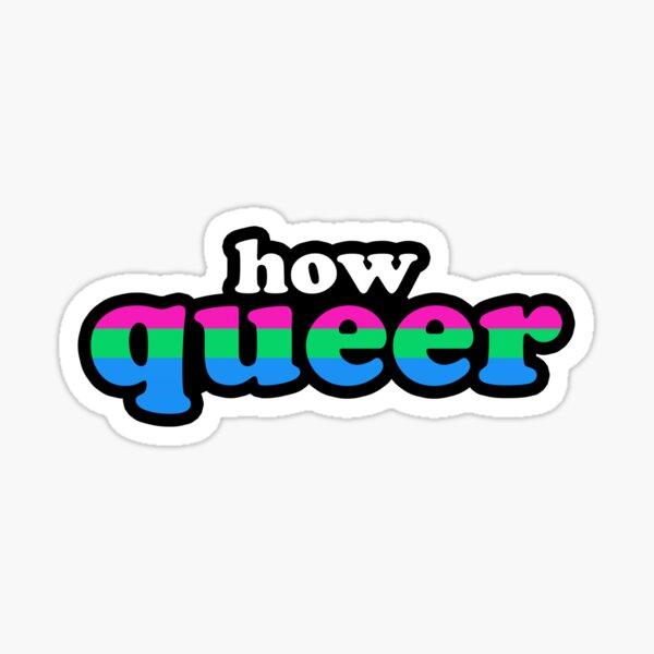 How Queer Polysexual Pride Flag Retro Outline Design Sticker