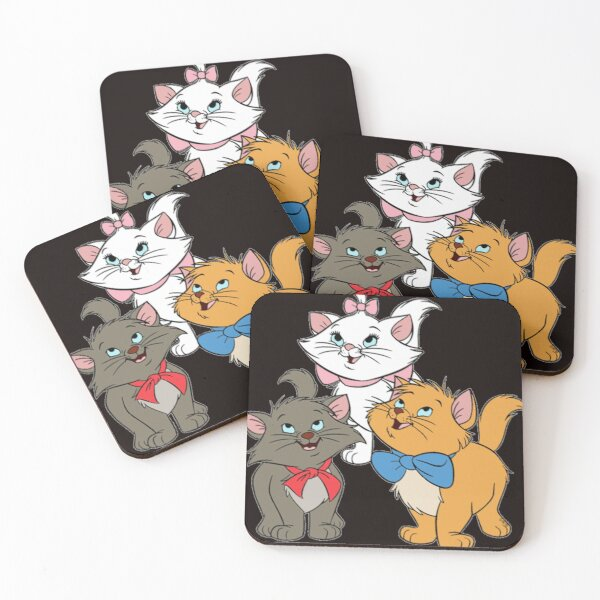 Marie Cat Aristocats    Love Cat T-Shirt Coasters (Set of 4)