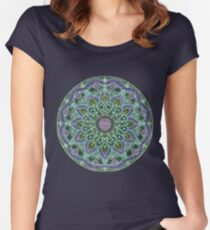 Hand Drawn Pink Purple Mandala  on Dark Women's Fitted Scoop T-Shirt