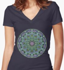 Hand Drawn Pink Purple Mandala  on Dark Women's Fitted V-Neck T-Shirt