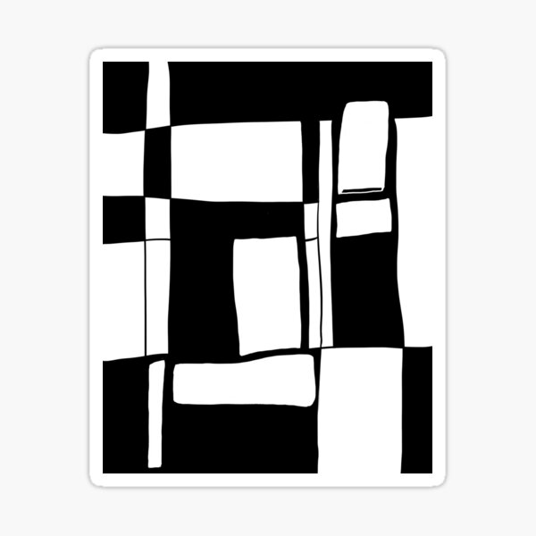 Black and white abstract art Sticker