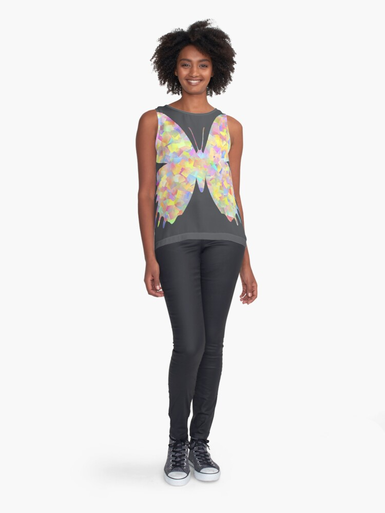 Alternate view of Pastel Motley Butterfly Sleeveless Top