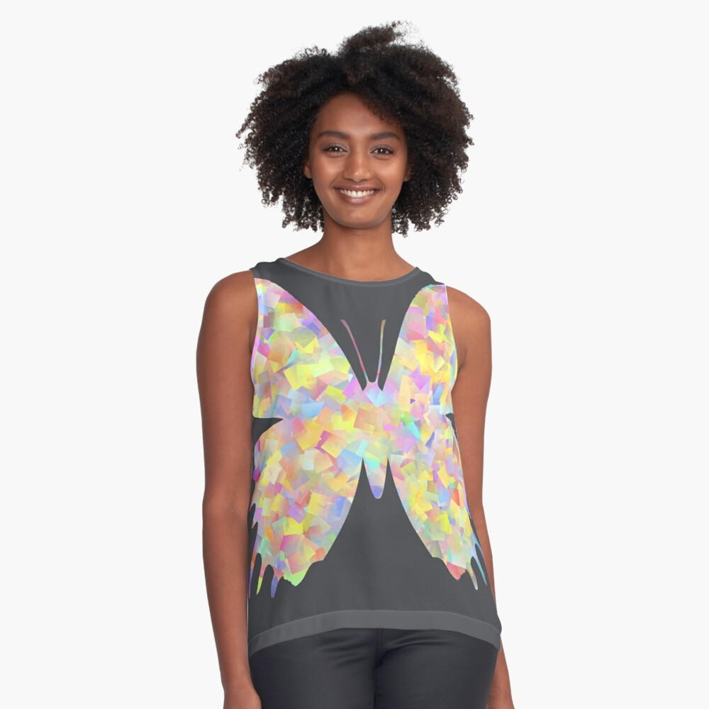 Pastel Motley Butterfly Sleeveless Top