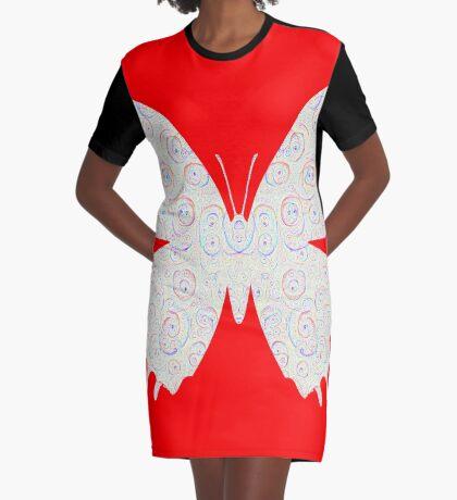 #DeepDream White Butterfly Graphic T-Shirt Dress