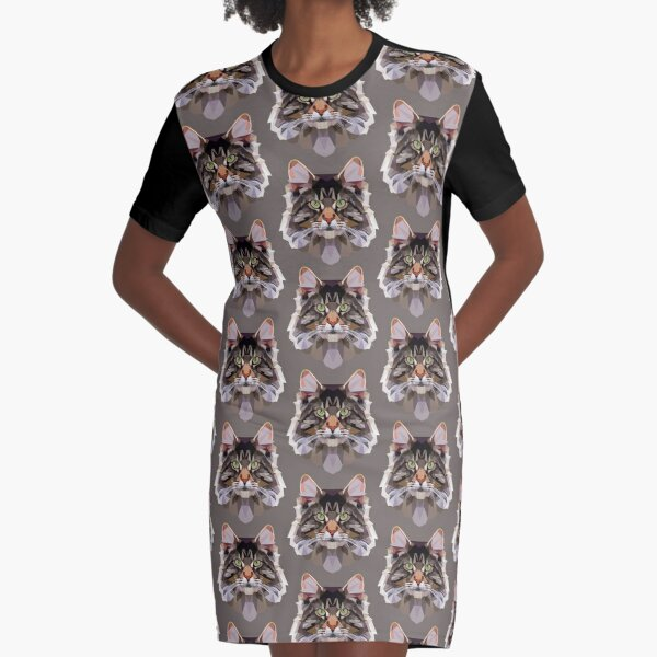 Maine coon Graphic T-Shirt Dress