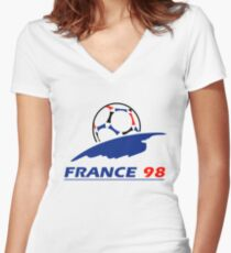 France 98 Women's Fitted V-Neck T-Shirt