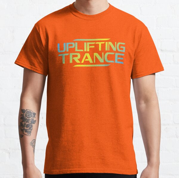 Futuristic Uplifting Trance Aesthetic Blue and Yellow Classic T-Shirt