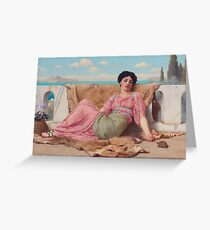 The Quiet Pet, by John William Godward Greeting Card