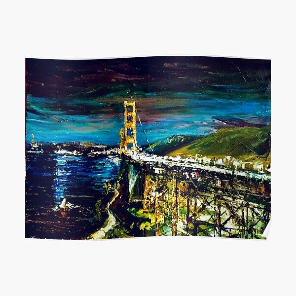 Golden Gate Bridge after dark Poster