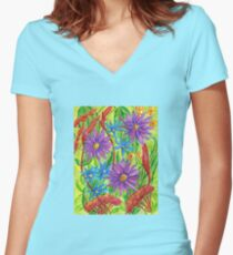 Flowers by the River Thames Women's Fitted V-Neck T-Shirt