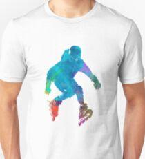 Man roller skater inline in watercolor Unisex T-Shirt