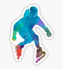Man roller skater inline in watercolor Sticker