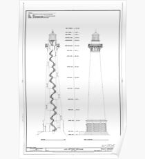 Old lighthouse blueprint wall art redbubble vintage cape hatteras lighthouse blueprint poster malvernweather Image collections