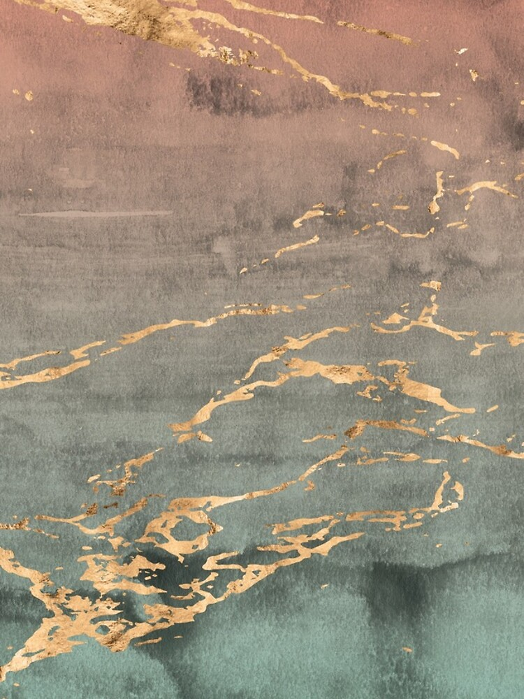 Cubierta del teléfono del gradiente de la menta coralina de oro de mármol de joellis