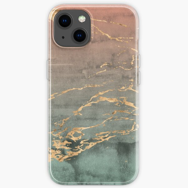 Marble gold coral mint gradient phone cover iPhone Soft Case