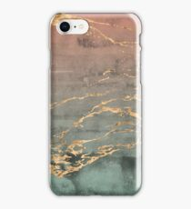 Marble gold coral mint gradient phone cover iPhone Case/Skin