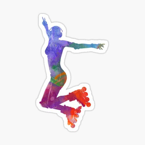 Woman in roller skates 05 in watercolor Sticker