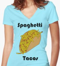 Spaghetti Taco Women's Fitted V-Neck T-Shirt