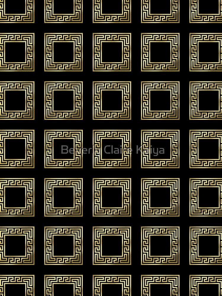 Elegant Art Deco Gold Glitter Black Square Pattern by beverlyclaire