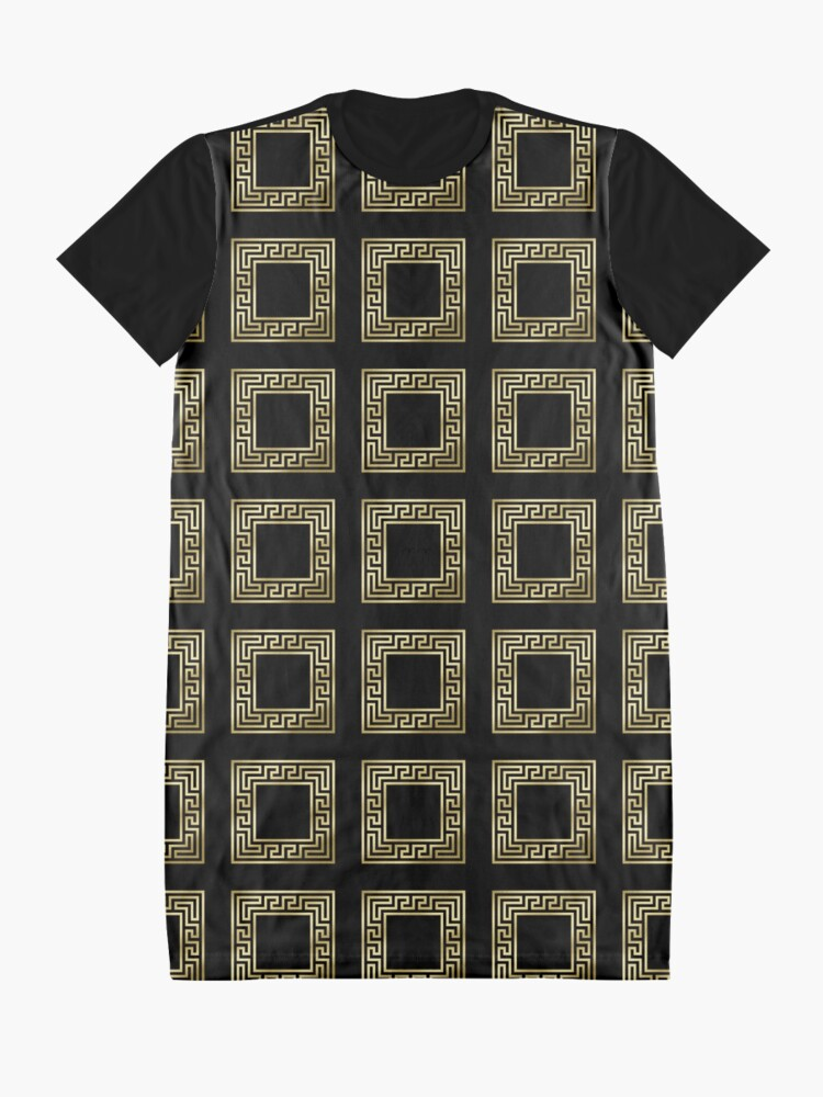 Alternate view of Elegant Art Deco Gold Glitter Black Square Pattern Graphic T-Shirt Dress