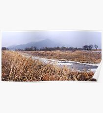 River and Mountains in Winter Poster
