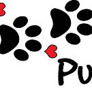 DOG PAWS LOVE PUG DOG PAW I LOVE MY DOG PET PETS PUPPY STICKER STICKERS DECAL DECALS by MyHandmadeSigns