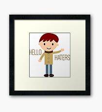 Cool Funny Vintage Cartoon Hipster Design - Hello Haters Framed Print