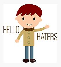 Cool Funny Vintage Cartoon Hipster Design - Hello Haters Photographic Print
