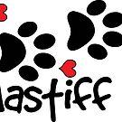 DOG PAWS LOVE MASTIFF DOG PAW I LOVE MY DOG PET PETS PUPPY STICKER STICKERS DECAL DECALS by MyHandmadeSigns