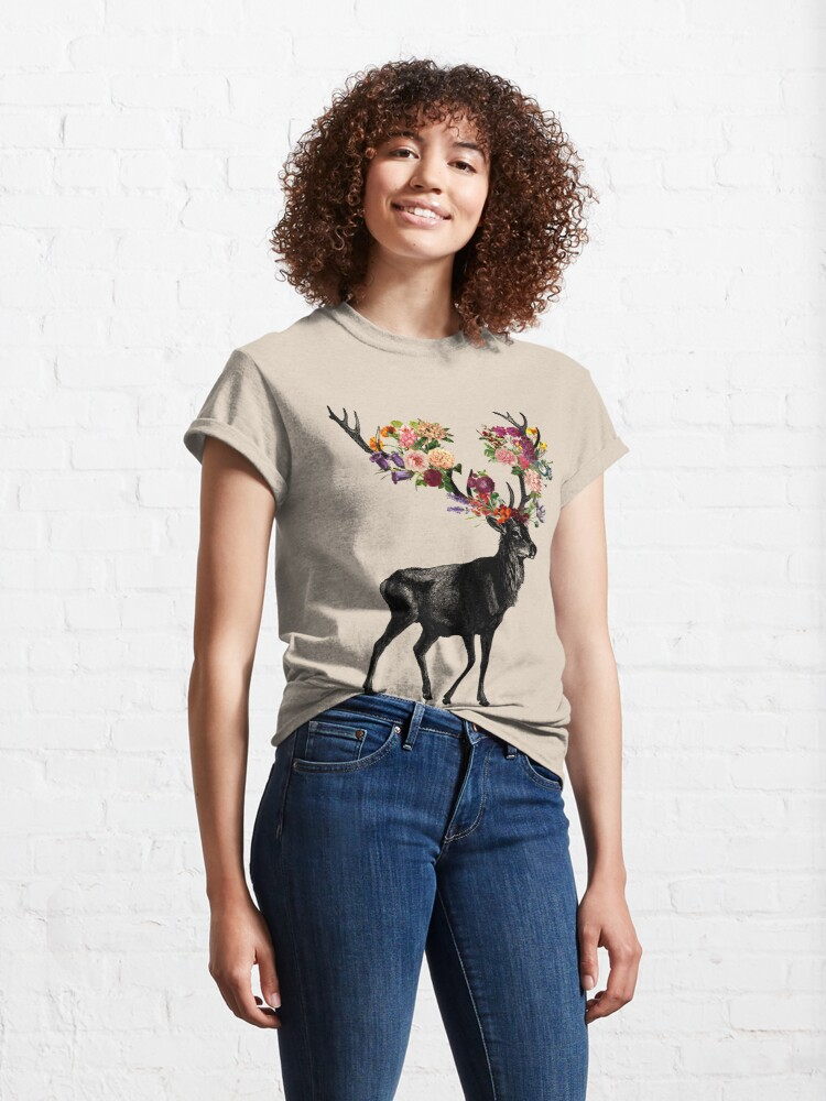 Alternate view of Spring Itself Deer Floral Classic T-Shirt