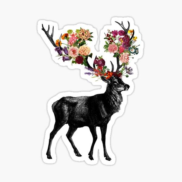 Spring Itself Deer Floral Sticker