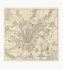 Lámina fotográfica Mapa vintage de Cincinnati Ohio (1915)