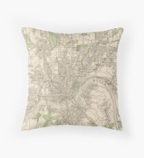 Vintage Map of Cincinnati Ohio (1915) Throw Pillow