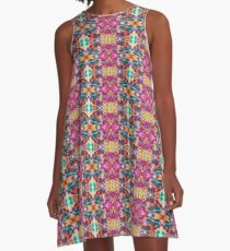 Turquoise Pink Gold Repeating Pattern A-Line Dress